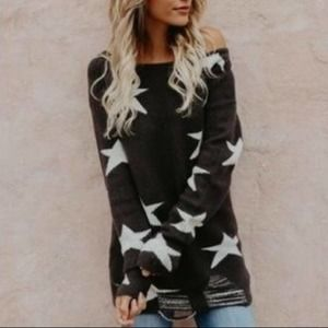 Fantastic Fawn Gray Star Distressed Sweater